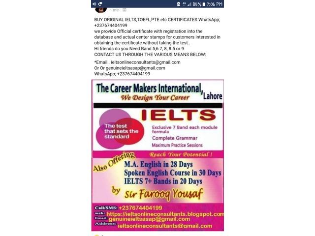 Buy ielts toefl pte sat certificate without exam 2018 WhatsApp